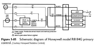 honeywell R8184G schematic cadmium cell primary controls heater service & troubleshooting wiring diagram for honeywell r8184m at gsmportal.co