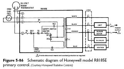 honeywell R8185E schematic cadmium cell primary controls heater service & troubleshooting wiring diagram for honeywell r8184m at gsmportal.co